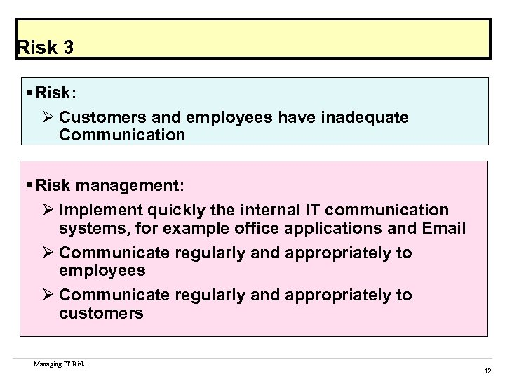 Risk 3 § Risk: Ø Customers and employees have inadequate Communication § Risk management: