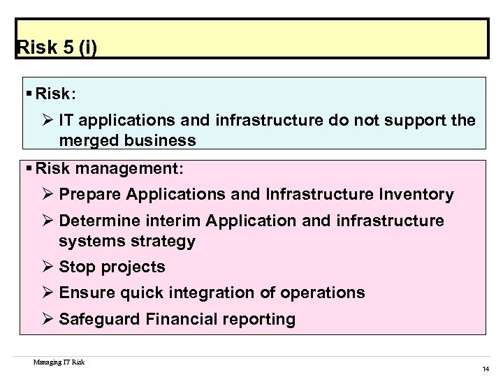 Risk 5 (i) § Risk: Ø IT applications and infrastructure do not support the