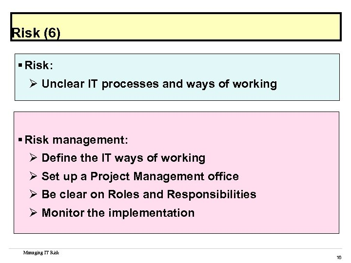 Risk (6) § Risk: Ø Unclear IT processes and ways of working § Risk