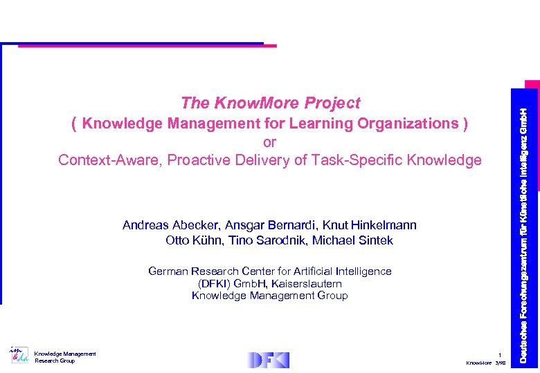 ( Knowledge Management for Learning Organizations ) or Context-Aware, Proactive Delivery of Task-Specific Knowledge