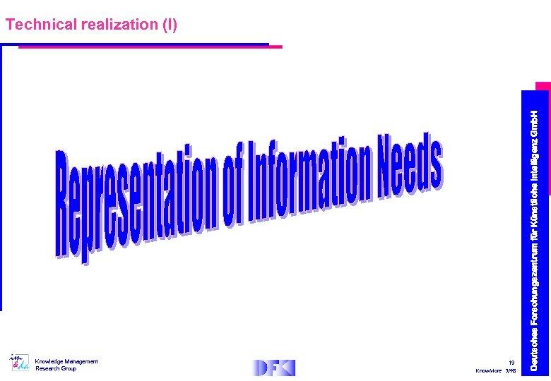 Knowledge Management Research Group 19 Know. More 3/98 Deutsches Forschungszentrum für Künstliche Intelligenz Gmb.