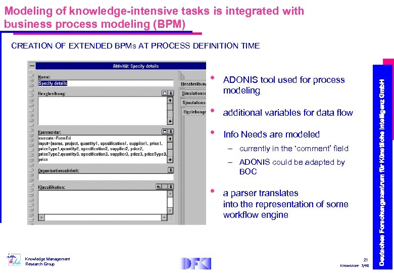Modeling of knowledge-intensive tasks is integrated with business process modeling (BPM) • • •