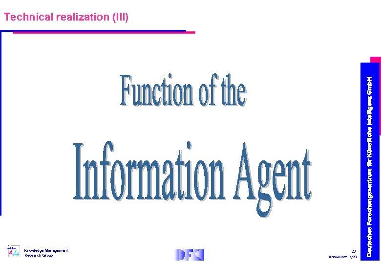 Knowledge Management Research Group 26 Know. More 3/98 Deutsches Forschungszentrum für Künstliche Intelligenz Gmb.