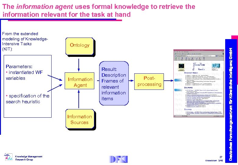 The information agent uses formal knowledge to retrieve the information relevant for the task