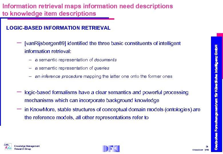 Information retrieval maps information need descriptions to knowledge item descriptions – [van. Rijsbergen 89]