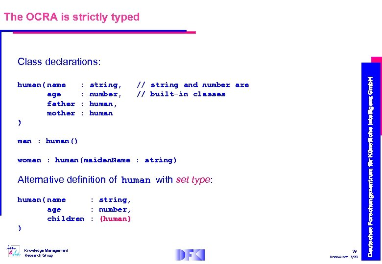 The OCRA is strictly typed human( name age father mother ) : : string,