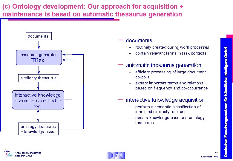 (c) Ontology development: Our approach for acquisition + maintenance is based on automatic thesaurus