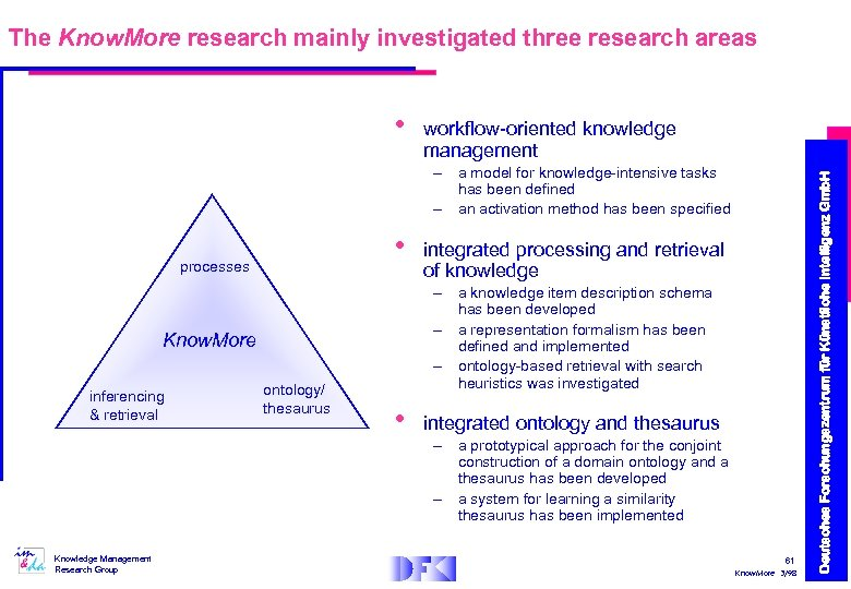 The Know. More research mainly investigated three research areas workflow-oriented knowledge management – a
