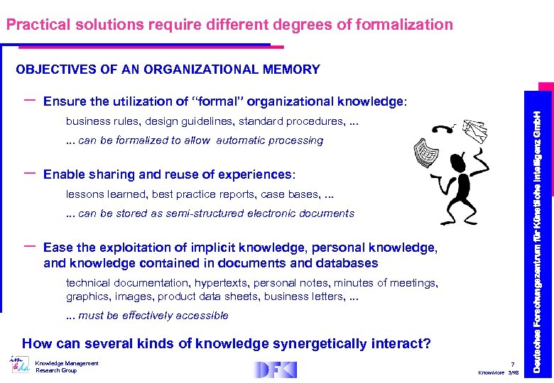 Practical solutions require different degrees of formalization OBJECTIVES OF AN ORGANIZATIONAL MEMORY Ensure the