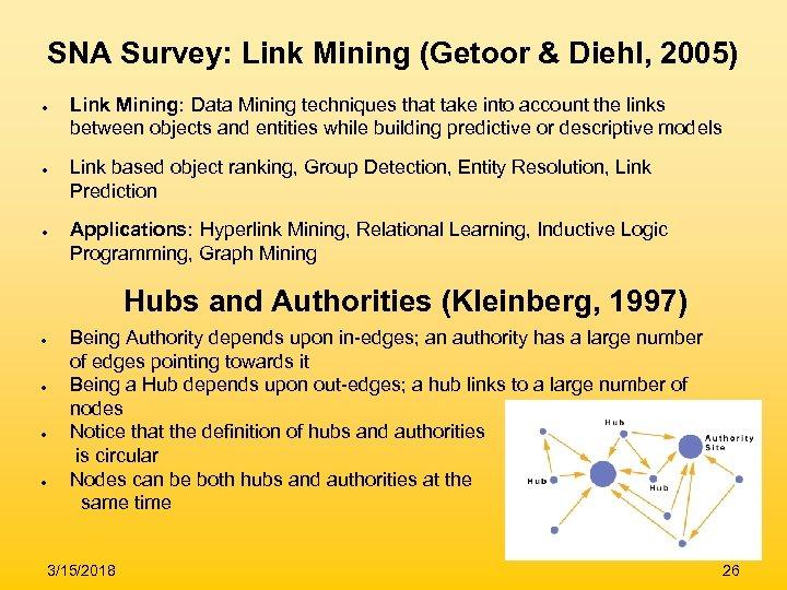 SNA Survey: Link Mining (Getoor & Diehl, 2005) ● ● ● Link Mining: Data