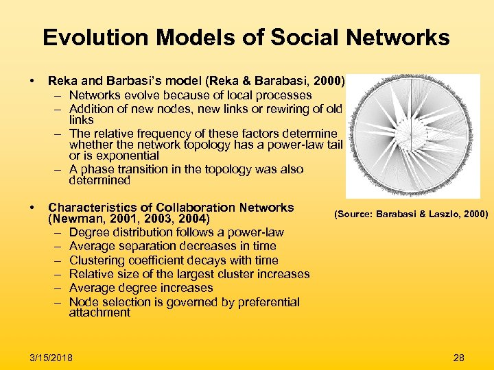 Evolution Models of Social Networks • Reka and Barbasi's model (Reka & Barabasi, 2000)