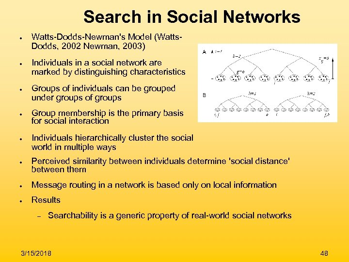 Search in Social Networks ● ● ● Watts-Dodds-Newman's Model (Watts. Dodds, 2002 Newman, 2003)