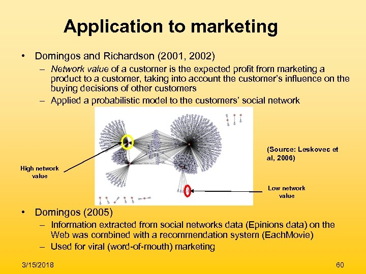 Application to marketing • Domingos and Richardson (2001, 2002) – Network value of a