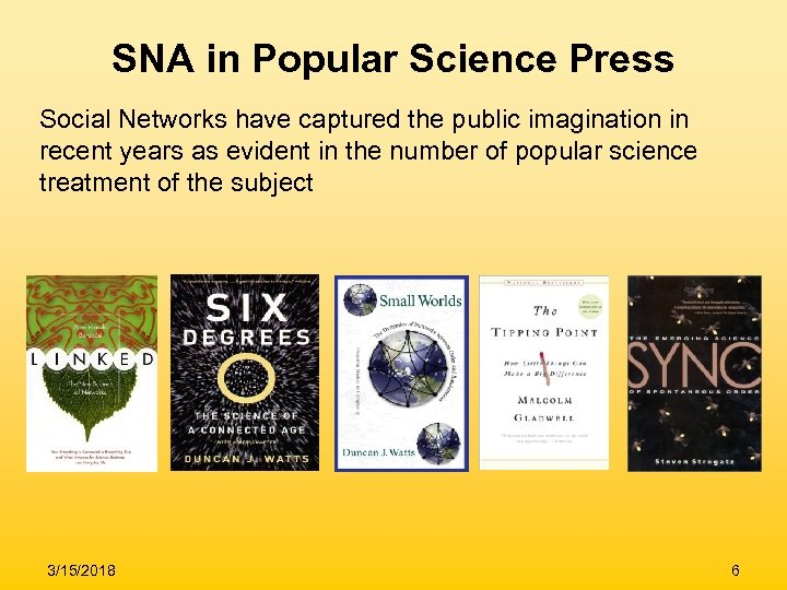 SNA in Popular Science Press Social Networks have captured the public imagination in recent
