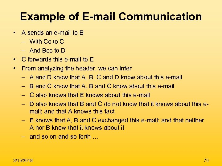 Example of E-mail Communication • A sends an e-mail to B – With Cc