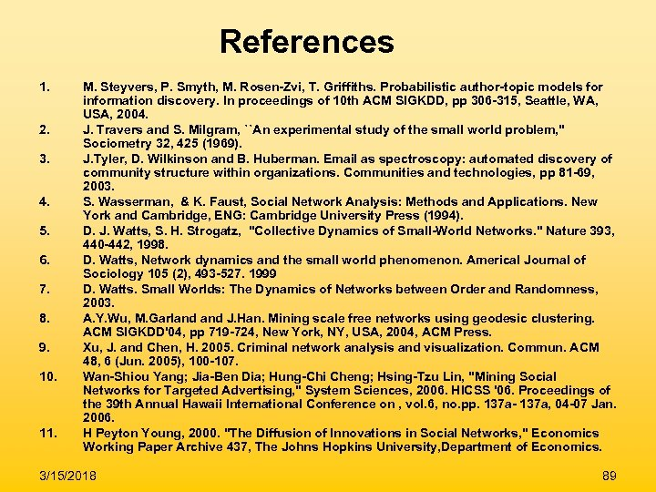 References 1. 2. 3. 4. 5. 6. 7. 8. 9. 10. 11. M. Steyvers,