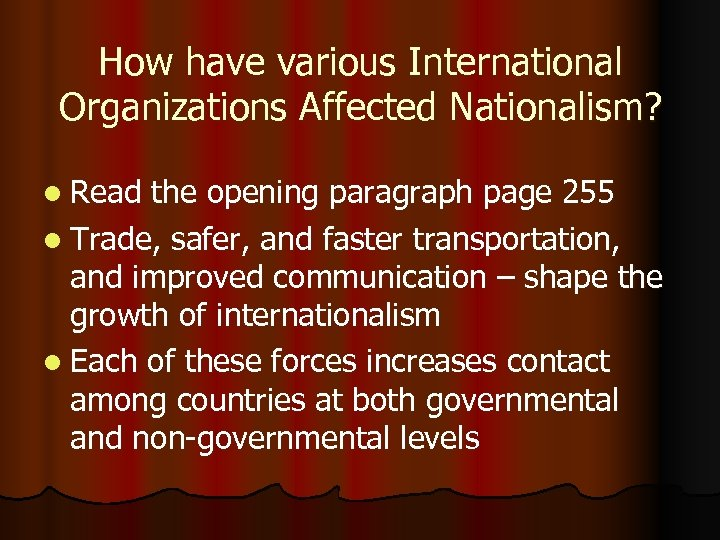 How have various International Organizations Affected Nationalism? l Read the opening paragraph page 255