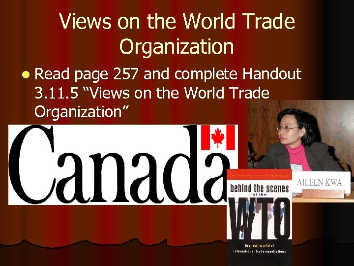 Views on the World Trade Organization l Read page 257 and complete Handout 3.