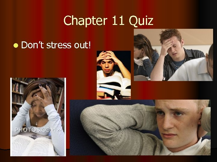 Chapter 11 Quiz l Don't stress out!