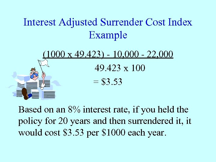Interest Adjusted Surrender Cost Index Example (1000 x 49. 423) - 10, 000 -