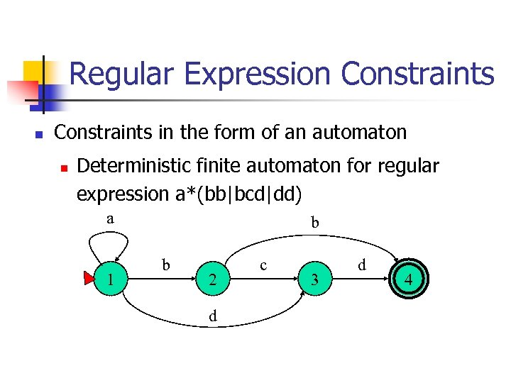 Regular Expression Constraints in the form of an automaton n Deterministic finite automaton for