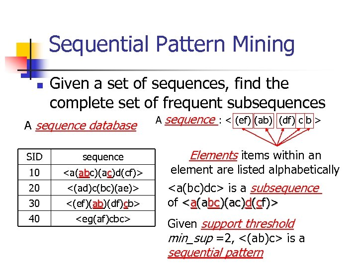 Sequential Pattern Mining n Given a set of sequences, find the complete set of