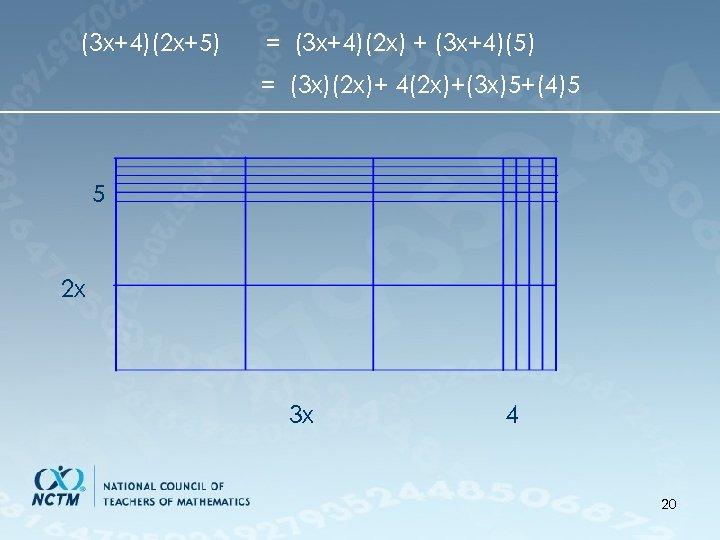 (3 x+4)(2 x+5) = (3 x+4)(2 x) + (3 x+4)(5) = (3 x)(2 x)+