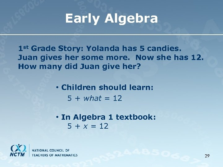 Early Algebra 1 st Grade Story: Yolanda has 5 candies. Juan gives her some