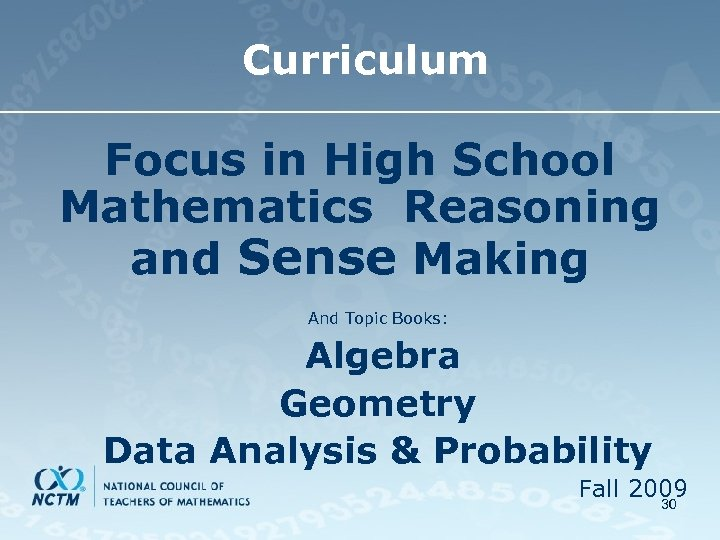 Curriculum Focus in High School Mathematics Reasoning and Sense Making And Topic Books: Algebra