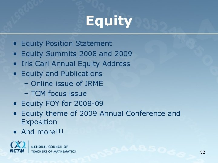Equity • • Equity Position Statement Equity Summits 2008 and 2009 Iris Carl Annual