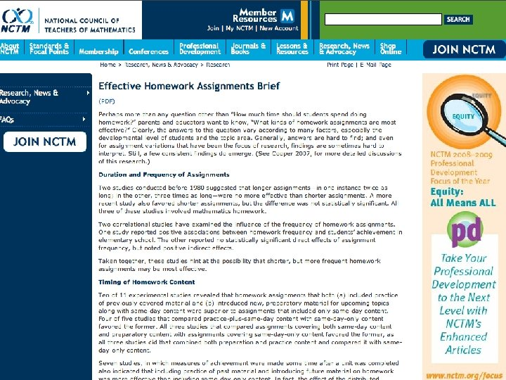 NCTM Research Clips and Briefs Homework Briefs provide the research in more detail…