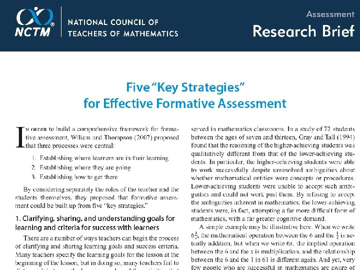 NCTM Research Clips and Briefs Formative Assessment