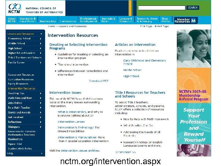 nctm. org/intervention. aspx 47