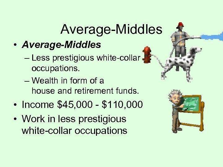 Average-Middles • Average-Middles – Less prestigious white-collar occupations. – Wealth in form of a