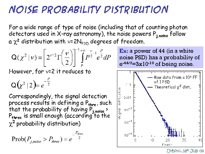 Noise probability distribution For a wide range of type of noise (including that of