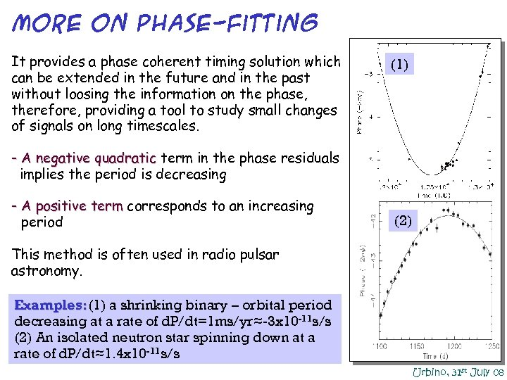 MORE on phase-fitting It provides a phase coherent timing solution which can be extended