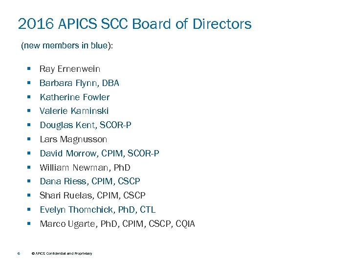 2016 APICS SCC Board of Directors (new members in blue): § § § 6