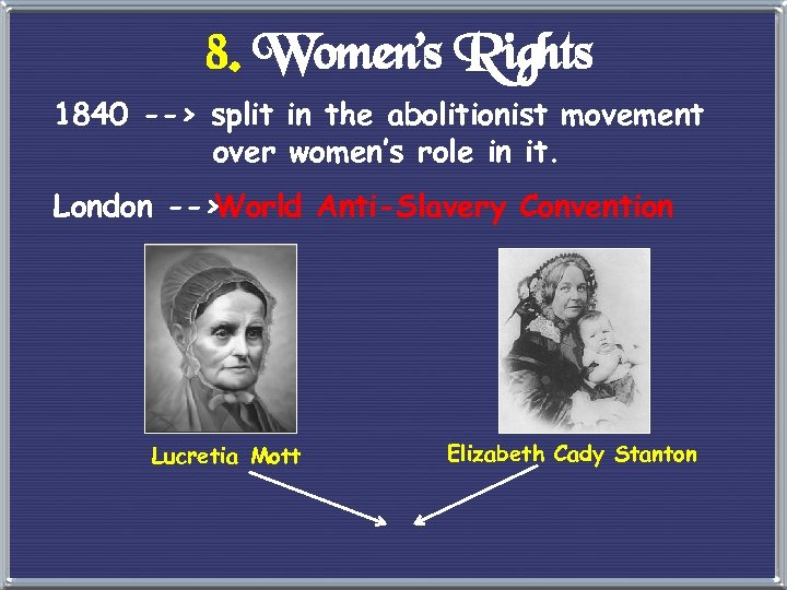 8. Women's Rights 1840 --> split in the abolitionist movement over women's role in