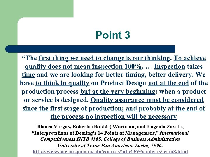 "Point 3 ""The first thing we need to change is our thinking. To achieve"