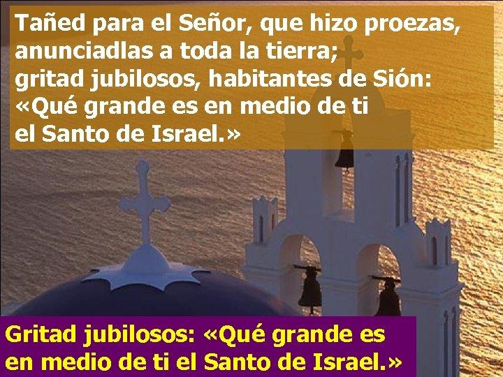 Tañed para el Señor, que hizo proezas, anunciadlas a toda la tierra; gritad jubilosos,