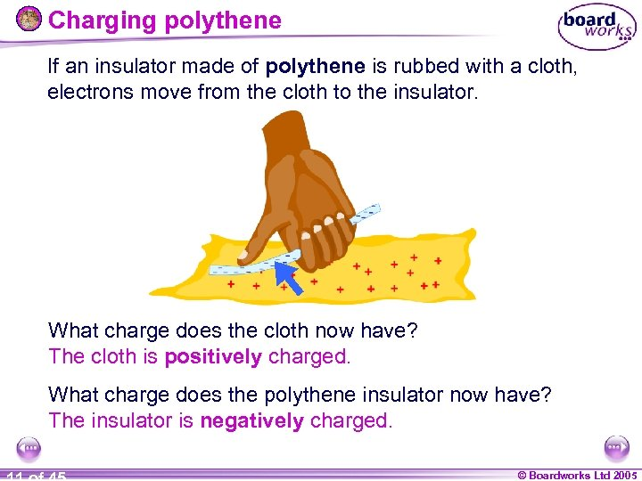 Charging polythene If an insulator made of polythene is rubbed with a cloth, electrons