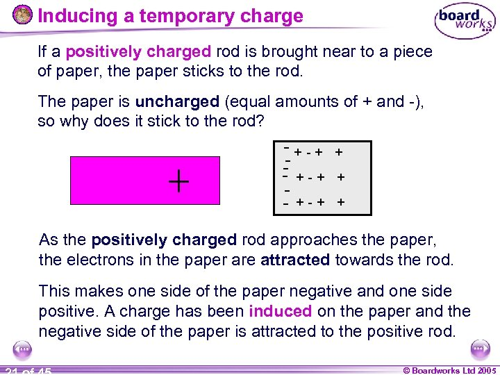 Inducing a temporary charge If a positively charged rod is brought near to a