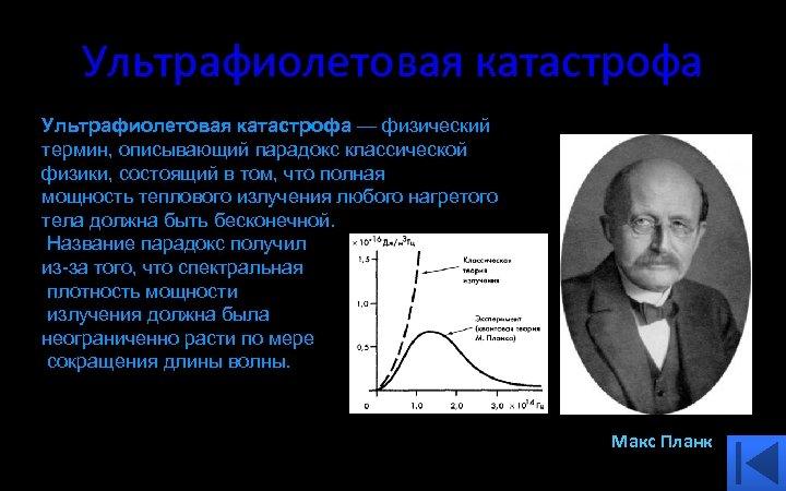 Ультрафиолетовая катастрофа — физический термин, описывающий парадокс классической физики, состоящий в том, что полная