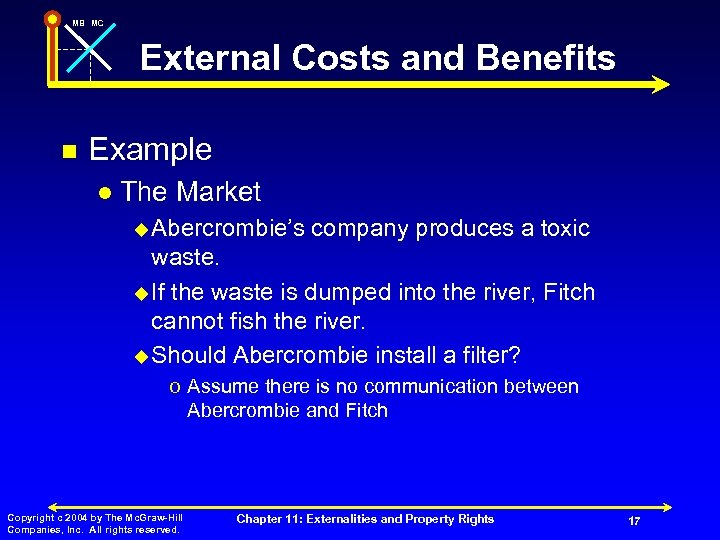 MB MC External Costs and Benefits n Example l The Market u Abercrombie's company