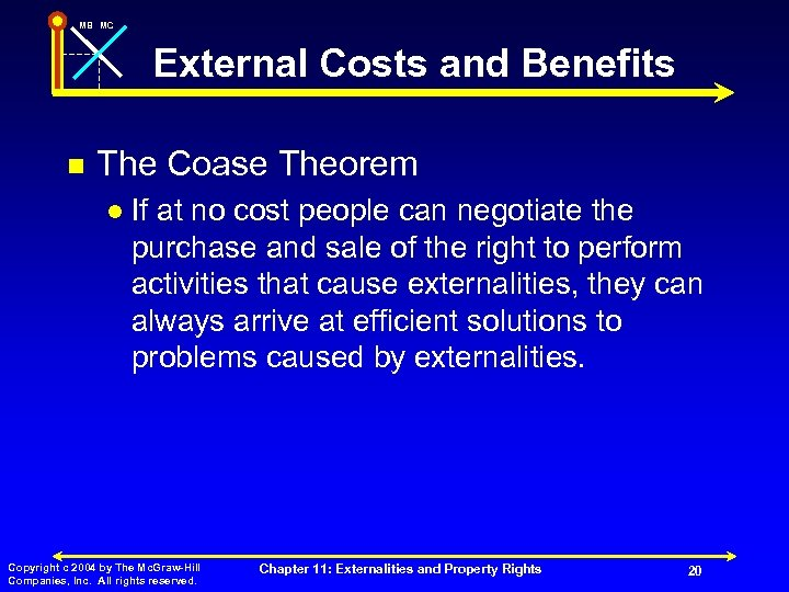 MB MC External Costs and Benefits n The Coase Theorem l If at no