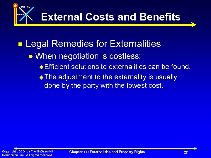MB MC External Costs and Benefits n Legal Remedies for Externalities l When negotiation