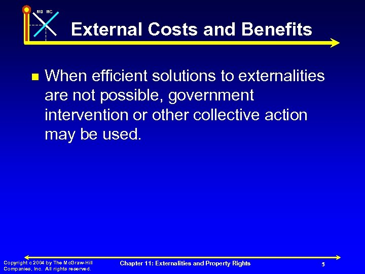 MB MC External Costs and Benefits n When efficient solutions to externalities are not