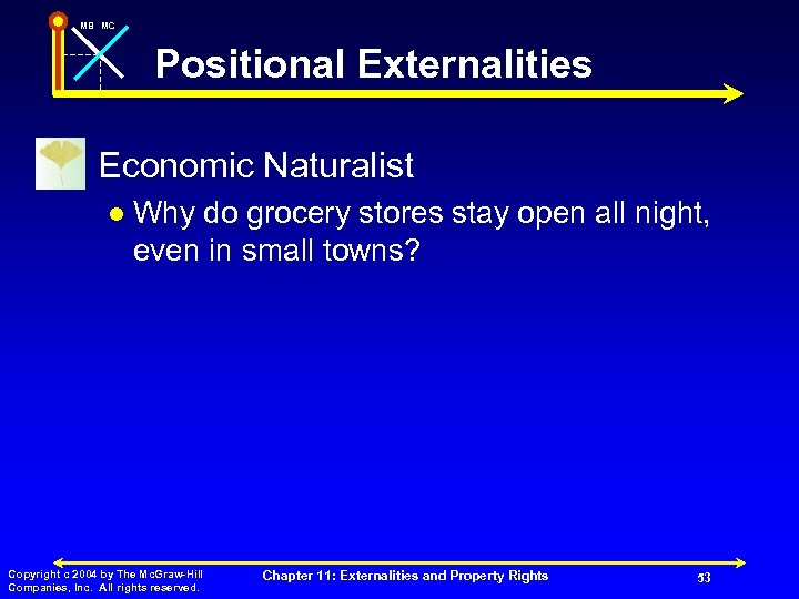 MB MC Positional Externalities n Economic Naturalist l Why do grocery stores stay open