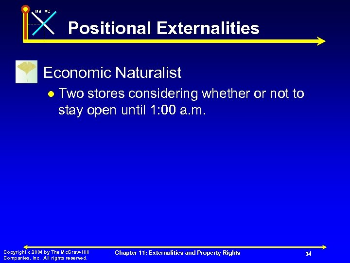 MB MC Positional Externalities n Economic Naturalist l Two stores considering whether or not