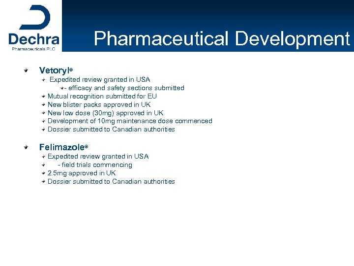 Pharmaceutical Development Vetoryl® Expedited review granted in USA - efficacy and safety sections submitted